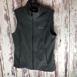Columbia Gray Fleece Vest Medium